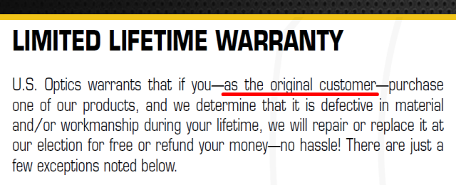 US Optics Warranty