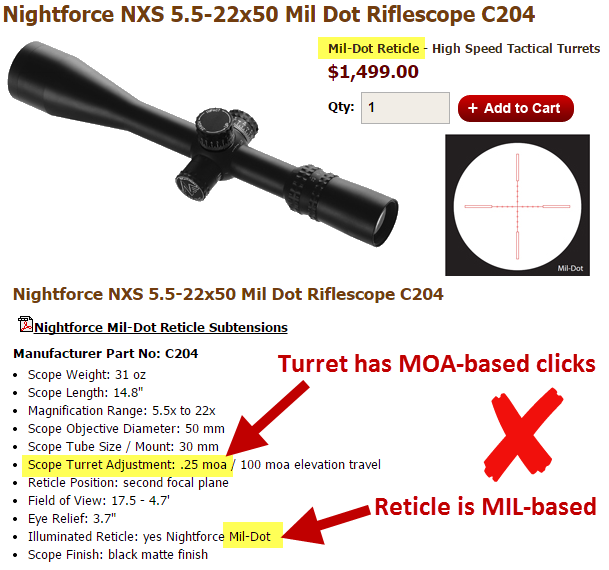 How to tell if a scope is MOA or MIL